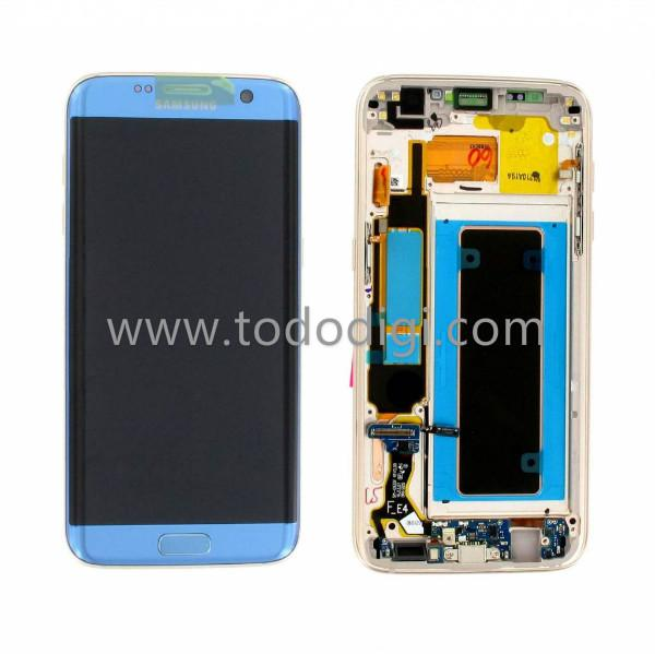 8227bf2159 DISPLAY LCD + TOUCH DIGITIZER DISPLAY COMPLETE + FRAME FOR SAMSUNG GALAXY  S7 EDGE G935F BLUE ORIGINAL